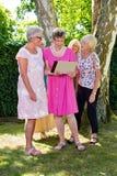 Groupe de dames supérieures heureuses regardant des prises de femme de l'image une dans des ses mains, se tenant dehors en parc d photo stock