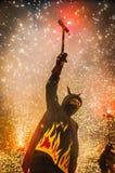 Groupe de danse de diables sur le perfo de Correfoc Photos libres de droits