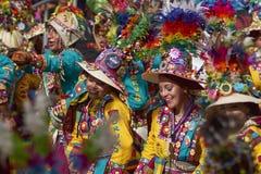 Groupe de danse de Tinkus au carnaval d'Oruro Images libres de droits