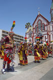 Groupe de danse de Tinkus au carnaval dans Arica, Chili Images libres de droits