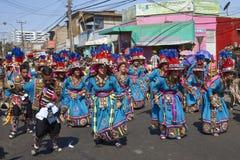 Groupe de danse de Tinkus dans Arica, Chili photographie stock libre de droits