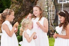 Groupe de demoiselles d'honneur soufflant des bulles dans le jardin Photo stock