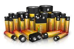 Groupe de différentes batteries de taille Photos stock