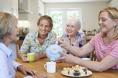 Groupe de différents amis féminins âgés se réunissant à la maison Images stock