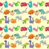 Groupe de dinosaures drôles avec le fond Image stock