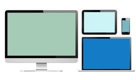 Groupe de dispositifs de Digital avec les écrans colorés illustration stock