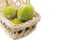 Groupe de durian sur le panier Photographie stock libre de droits