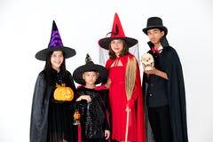 Groupe de famille dans le style multiple de costume de fantaisie sur le backgro blanc photos stock