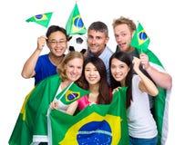 Groupe de fans de foot de pays différent images libres de droits