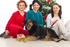 Groupe de femmes avec le crabot près de l'arbre de Noël Photographie stock libre de droits