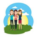 Groupe de femmes dans le camp illustration stock