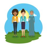 Groupe de femmes dans le camp illustration libre de droits