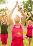 Groupe de 3 femmes faisant le yoga en nature Photos stock