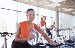 Groupe de femmes montant sur le vélo d'exercice dans le gymnase Images libres de droits