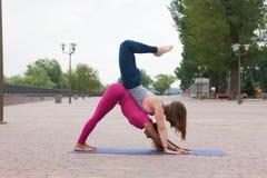Groupe de femmes pratiquant le yoga en parc photo stock