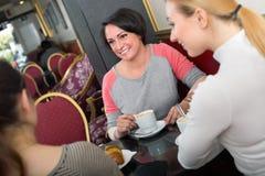 Groupe de femmes prenant une conversation au-dessus d'une tasse de café Image libre de droits