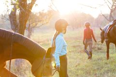 Groupe de filles de cavalier marchant avec des chevaux en parc Images stock