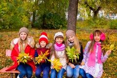 Groupe de filles en parc d'automne avec des feuilles Photo stock