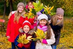Groupe de filles en parc d'automne avec des feuilles Image stock
