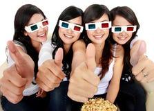 Groupe de filles observant le film Photos libres de droits