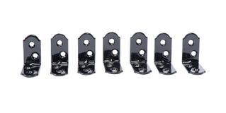 Groupe de fixators métalliques noirs d'angle photographie stock libre de droits