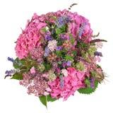 Groupe de fleurs avec l'hortensia et les herbes Photo libre de droits