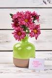 Groupe de fleurs et de carte Photo stock