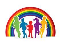 Groupe de fonctionnement d'enfants Images stock