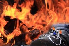 Groupe de fonctionnement (miniature) de pompier Photographie stock libre de droits