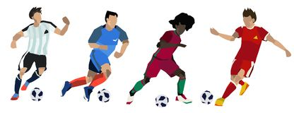 Groupe de footballeurs du football Illustration Stock