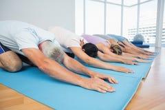 Groupe de forme physique dans la rangée à la classe de yoga images libres de droits