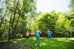 Groupe de forme physique faisant le yoga en parc un jour ensoleillé Images libres de droits