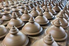 Groupe de foyer sélectif de poterie de terre Photographie stock