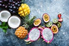 Groupe de fruits tropicaux exotiques Photo libre de droits