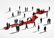 Groupe de gens d'affaires avec la carte japonaise Image stock