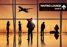 Groupe de gens d'affaires dans l'aéroport Photos libres de droits