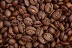 Groupe de graines de café brunes fond, macro, plan rapproché Photographie stock