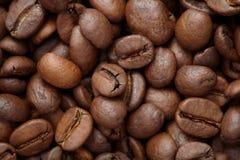 Groupe de graines de café brunes fond, macro, plan rapproché Photo libre de droits