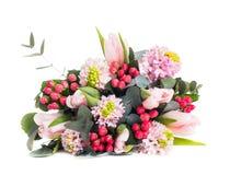 Groupe de jacinthes roses et tulipes, bouquet de fête du ressort la Floride image libre de droits
