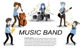 Groupe de jazz de musiciens, guitare de jeu, Saxophoneist ; trompettiste ; guitariste, batteur, guitariste solo, jazz-band de bas Photos stock