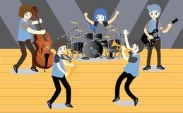 Groupe de jazz de musiciens, guitare de jeu, Saxophoneist ; trompettiste ; guitariste, batteur, guitariste solo, jazz-band de bas Illustration Libre de Droits