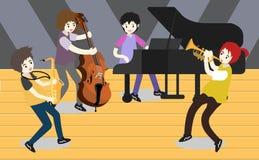 Groupe de jazz de musiciens, guitare de jeu, Saxophoneist ; trompettiste ; guitariste, batteur, guitariste solo, jazz-band de bas Image stock