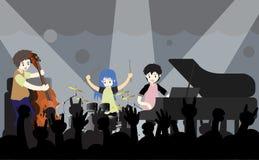 Groupe de jazz de musiciens, guitare de jeu, Saxophoneist ; trompettiste ; guitariste, batteur, guitariste solo, jazz-band de bas Image libre de droits