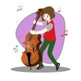 Groupe de jazz de musiciens, guitare de jeu, Saxophoneist ; trompettiste ; guitariste, batteur, guitariste solo, jazz-band de bas Illustration Stock