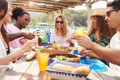 Groupe de jeunes amis appréciant le déjeuner dehors Image stock
