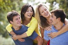 Groupe de jeunes amis ayant l'amusement dans la campagne Image stock