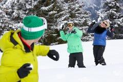 Groupe de jeunes amis ayant le combat de boule de neige Photographie stock