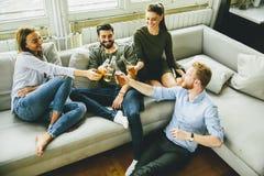 Groupe de jeunes amis buvant du cidre et ayant l'amusement Photo stock