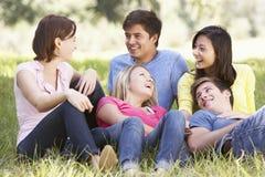 Groupe de jeunes amis détendant dans la campagne Photo libre de droits