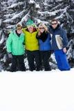 Groupe de jeunes amis des vacances de ski en montagnes Image stock